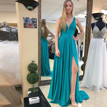 Sexy V-neck Turquoise Evening Dresses Sleeveless Pleats Chiffon Formal Party Dresses Front Split Evening Gowns Vestido De Noite