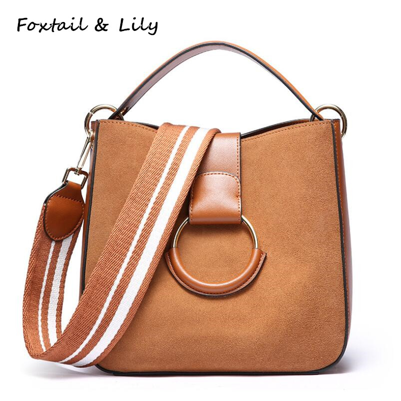 FoxTail & Lily Brand Genuine Leather Vintage Tote Handbag Luxury Fashion Frosted Cowhide Tote Shoulder Bag Women Messenger Bags maifeini first layer cow leather women bag female genuine leather luxury handbag cowhide tote bags fashion messenger bags bolsa