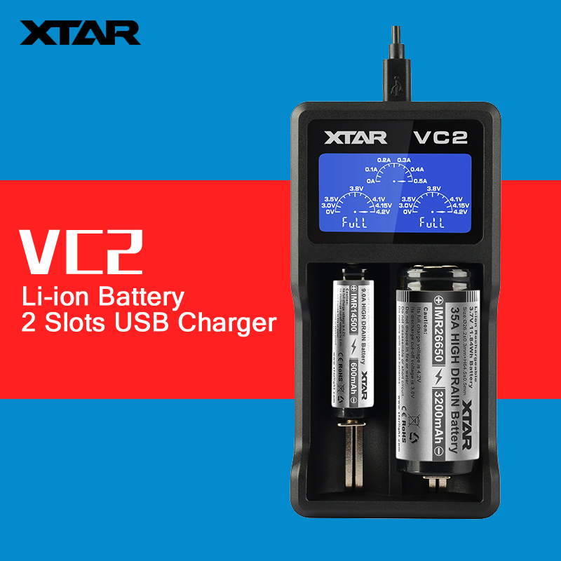 Original XTAR VC2 2 Slots 1A Current Universal Intelligent USB Battery Charger with LCD Display for 3.6V / 3.7V Li-ion 18650