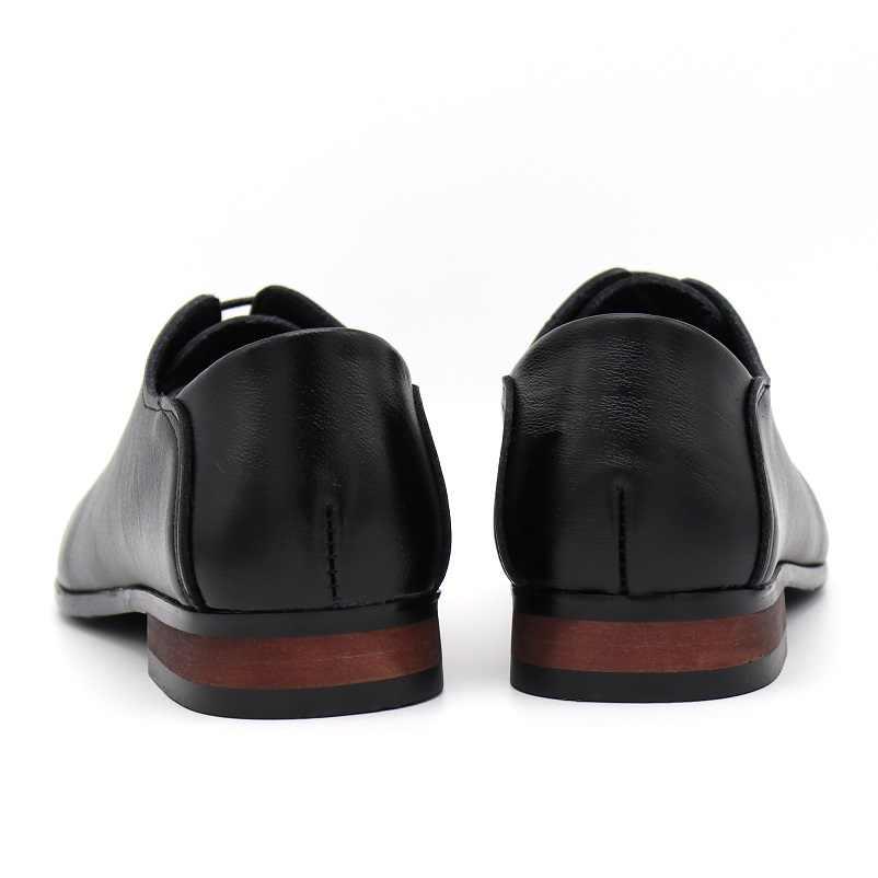 BIMUDUIYU Merk Mannen Business Formele Kleding Schoenen Lace-Up Wees Teen Britse Stijl Mannen Zwarte Flats Schoenen Trouwschoenen