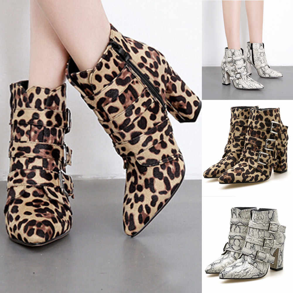 84257a04e36 hot waterproof boots women Snake skin Pattern Toe Zip Belt Buckle Thick  Pointed high heels winter snow boots botas
