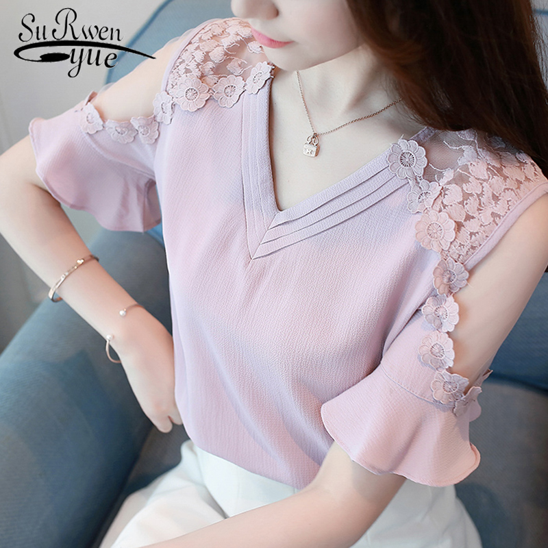 Sexy strapless lace plus size summer women tops fashion short sleeve chiffon women   blouse     shirt   women clothing blusas 0052 30