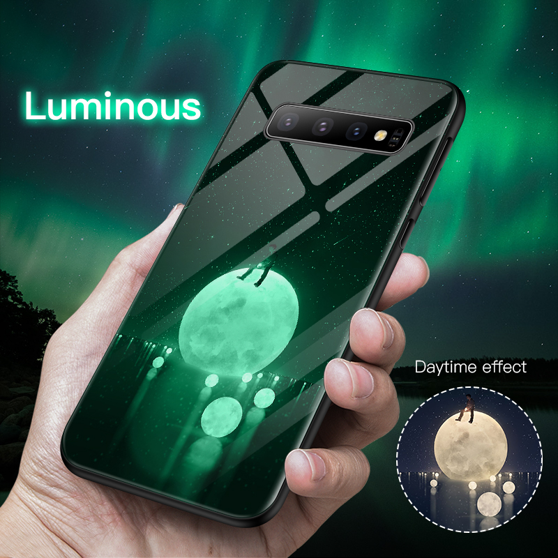 Luxury Luminous Tempered Glass Phone <font><b>Case</b></font> Night Glow Phone Back Cover For Galaxy <font><b>S7</b></font> 8 9 10 Plus Note 8 9 10e <font><b>Case</b></font> Coque Funda image