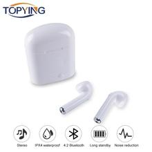 Bluetooth наушники Беспроводной стерео гарнитура I7 I7S СПЦ наушники гарнитура с загрузочной коробки микрофоном для Iphone Android Air стручки