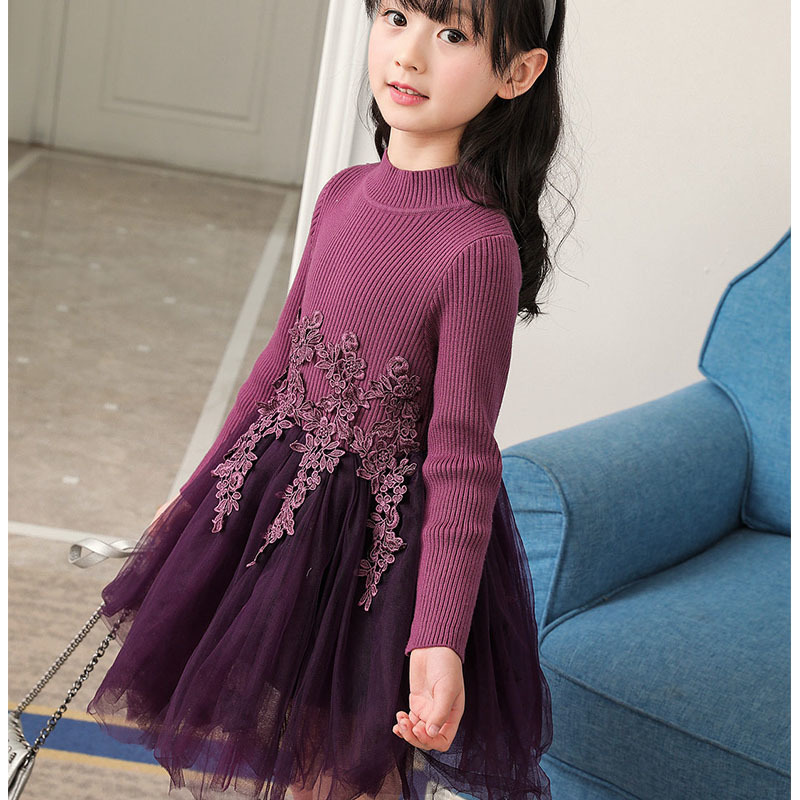 knitted sweaters dress princess clothes girls dress purple pink christmas kids dresses for girls wedding autumn winter clothing