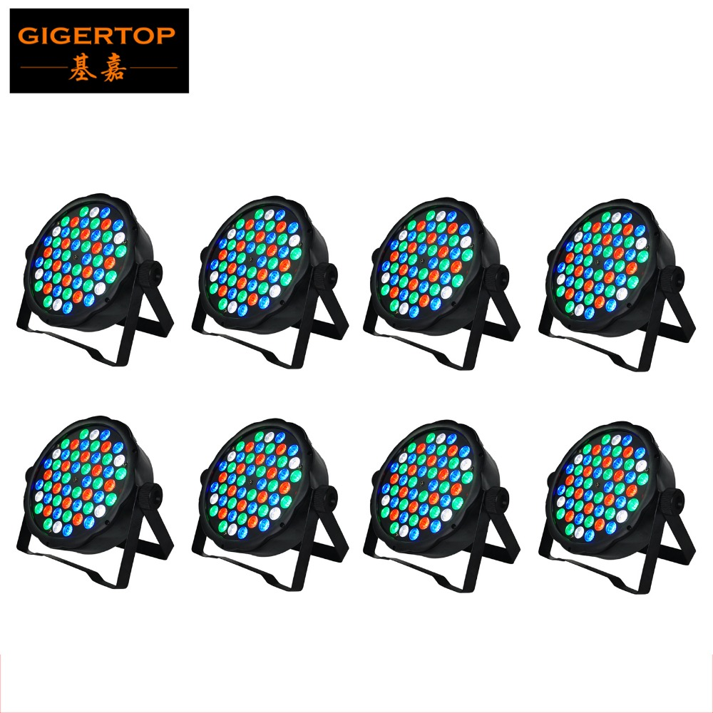 Gigertop TP-P01 8pcs/lot Plastic Case 54 RGBW Flat Led Par Light R:12 G:18 B:18 W:6 Single Color DMX 512 Control 8 Channels 60W b p r d hell on earth volume 8 lake of fire