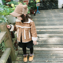 ANKRT 18 Winter New KidsWear Baby Locomotive Jacket Corduroy Card and Thickened Cotton Overcoat.12M-6T