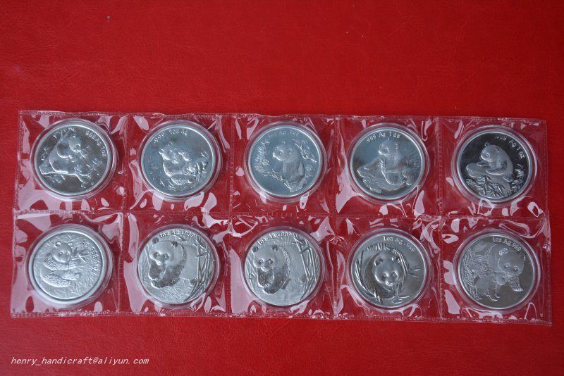 RARE Chinese <font><b>government</b></font>-issued United Nations level animal <font><b>protection</b></font>,Panda coin,10 pieces/pack,#01,Has a high collection value image