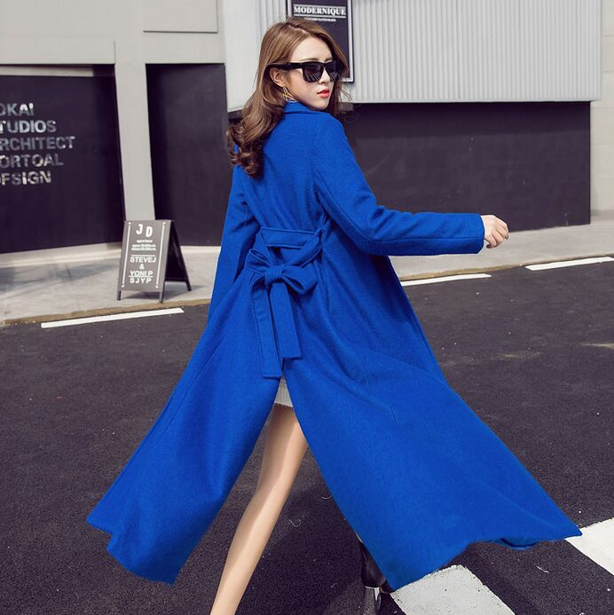 Women Winter Long Wool Coat Split Back Oversize Trench Peacoats Winter New Design Fashion Long Women