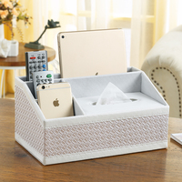 Weave Leather Multifunction Tissue Box Tea Table Pen Remote Desk Organization Home Storage Cases Paper Napkin