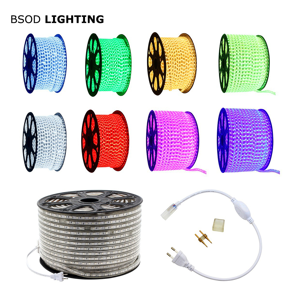 BSOD LED Strip AC220V 60leds/m SMD5050 Led Line Light Waterproof  5M 10M 20M 25M Garden Outerdoor Lighting Decoration Lamp