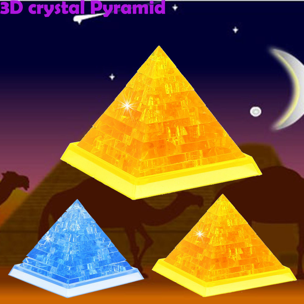 3D Crystal Puzzle Cute Pyramid Model DIY Gadget Building Toy Gift Puzzles Baby Kids Learning Educational Games Toys for Children(China)