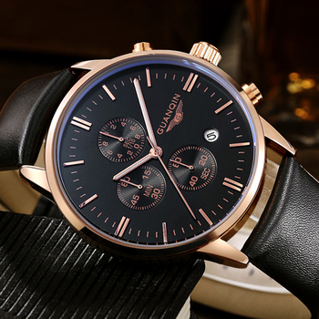 GUANQIN Quartz Watch Mens Watches Top Brand Luxury Chronograph Clock Men Sport Waterproof Leather Wristwatch relogio masculino mens watches top brand luxury guanqin men sport tourbillon automatic mechanical leather wristwatch moon phase relogio masculino