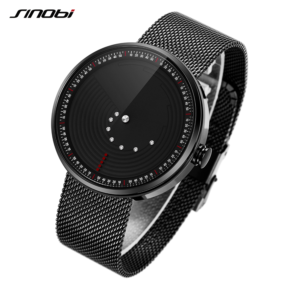 SINOBI Ultrathin Space-time Creative Watches Luxury Watch Men Waterproof Saat Stainless Steel Mesh Band 2018 Relogio Masculino