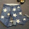 2017 pantalones vaqueros del estiramiento mujeres harem jeans pantalones estrellas print plus tamaño 4XL