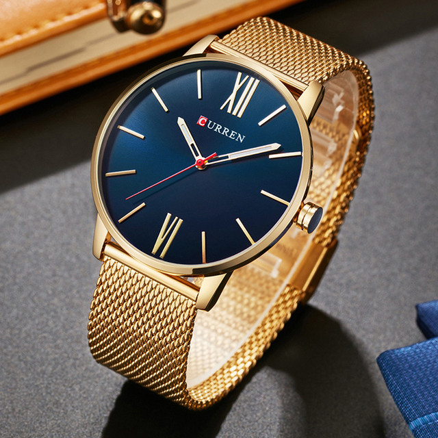 Curren Mens Watches Top Brand Luxury Gold Quartz Men Watch Drop Shipping Mesh Strap Casual Sport Male Relogio Masculino 8238