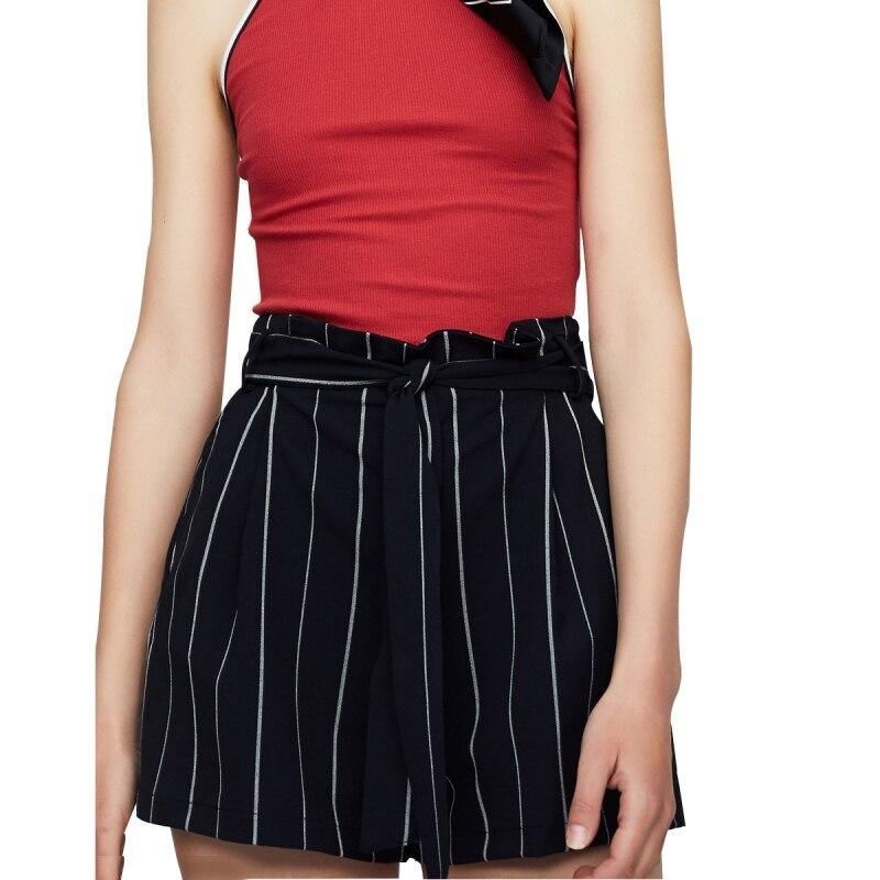 HDY Short Femme 2019 Women High Waisted Wide Leg Short Stripe Elastic Waist Shorts Feminino Plus Size haoduoyi Shorts Women M (4)