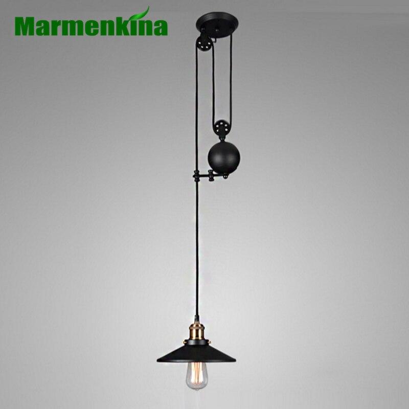 Industrial Loft Nordic Retro Lifter Pulley Pendant Lamp Bar Restaurant Retractable Iron Lifting Pendant light AC110V 220V 230V