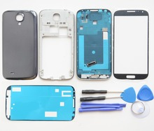 GT-i9505 Full Housing Case Cover Repair Parts For Samsung Galaxy S4 Front Frame+Middle Frame+Battery cover +Front glass
