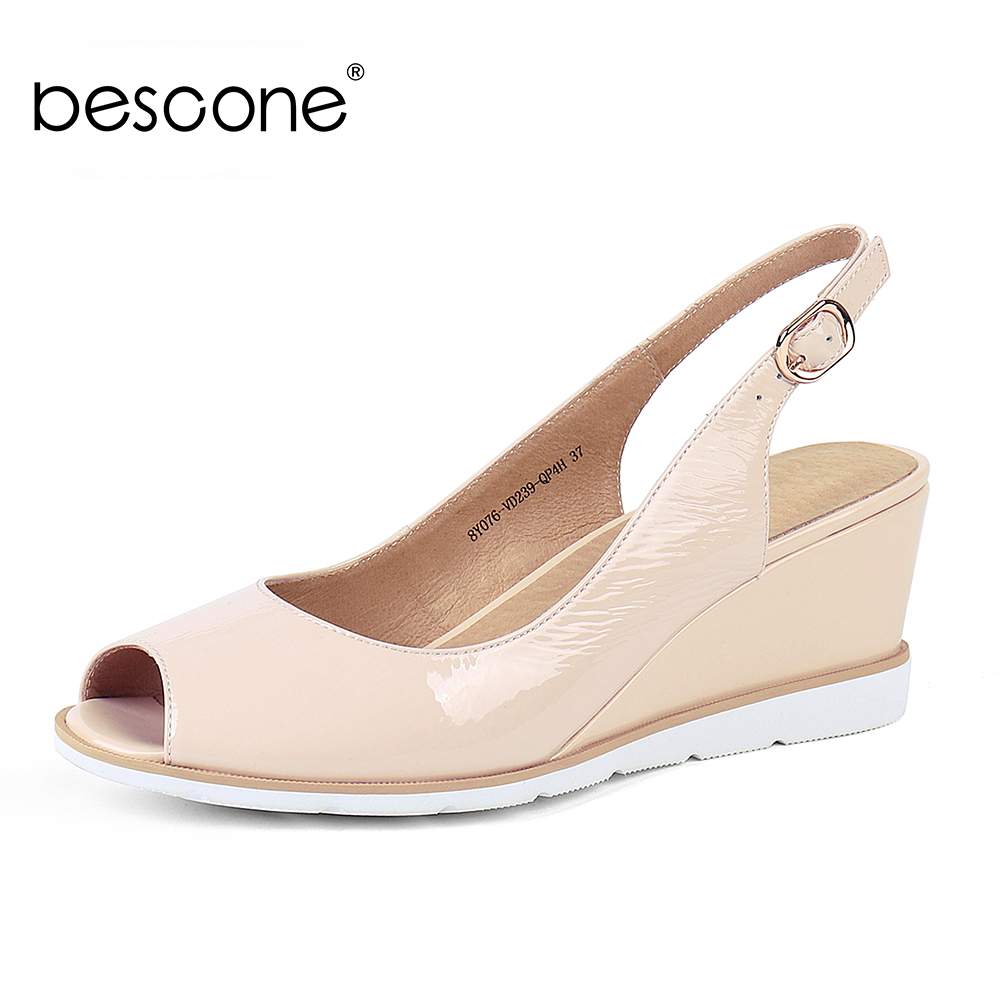 BESCONE Women Sandals Wedges Pleated Patent Leather Apricot Peep Toe Female Summer Shoes Handmade Career Dress Lady Sandals BS1BESCONE Women Sandals Wedges Pleated Patent Leather Apricot Peep Toe Female Summer Shoes Handmade Career Dress Lady Sandals BS1