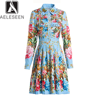AELESEEN 2019 New Style Fashion Printed Dresses Turn collar Flower Crystal Beaded Pleat Dress for Women