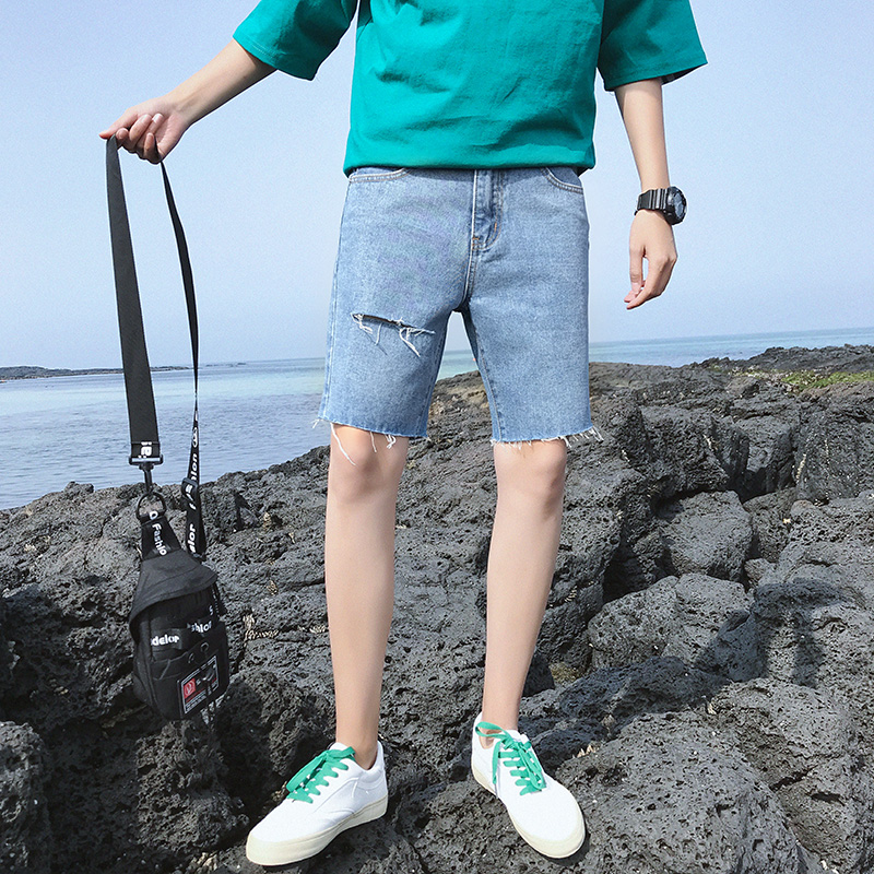 jeans shorts men denim shorts men hole mens casual cotton black shorts man short pants masculino