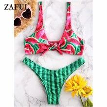 6df0a367c4 ZAFUL Watermelon Knotted Bikini Swimwear Women Swimsuit Sexy Low Waist  Plunge Thong Bikini Bathing Suit Padded Swimwear Biquni