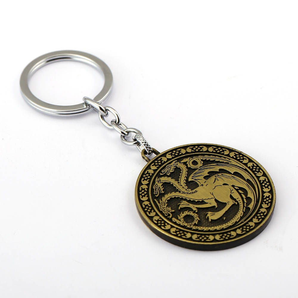 MS Jewelry Game of Thrones Keychain Song of Ice and Fire Targaryen Key Ring Holder Chaveiro Car Key Chain Pendant Souvenir