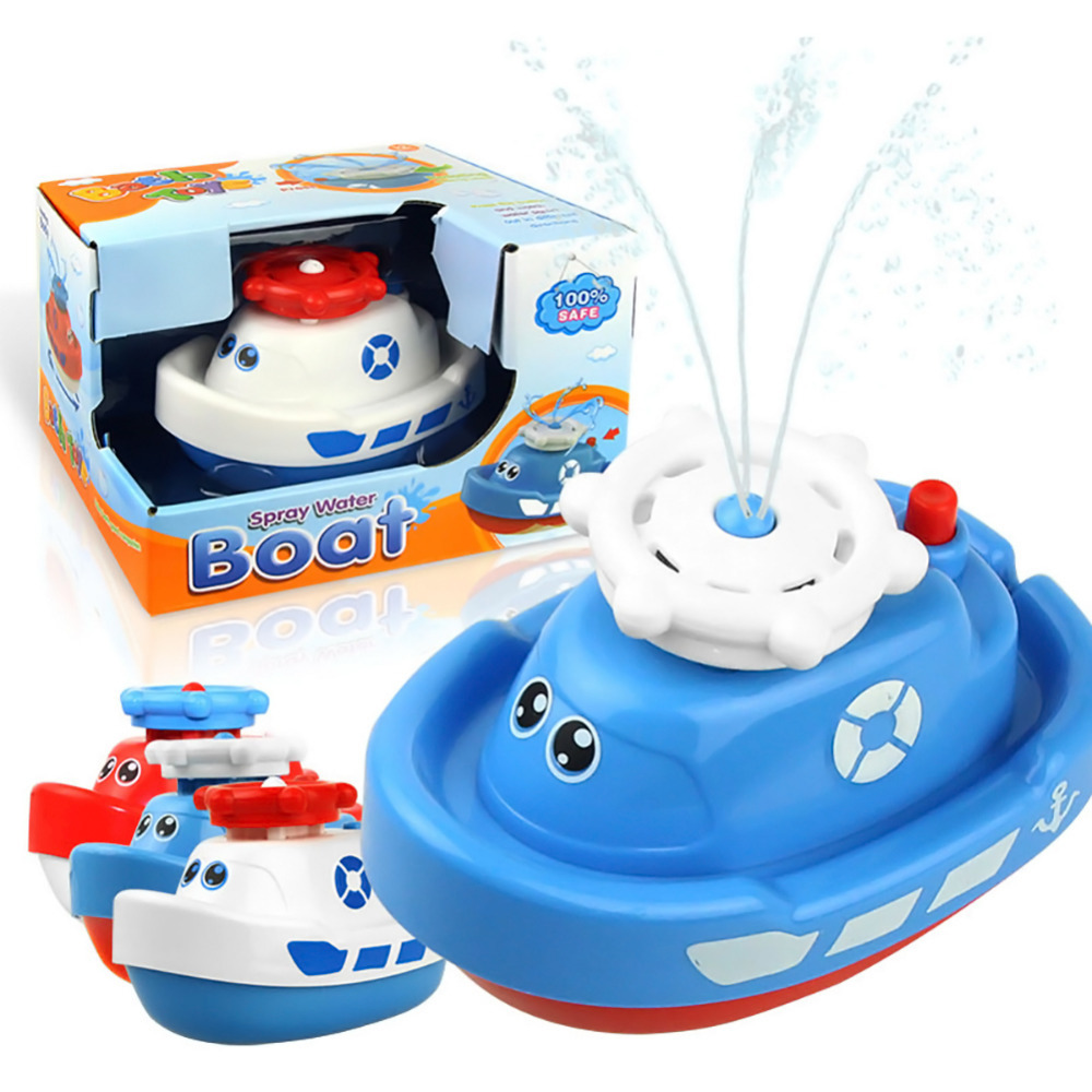 Cartoon Spraying Water Baby Bath Toy Infant Electric Rotating Water Jet Boat Toy Bathroo ...