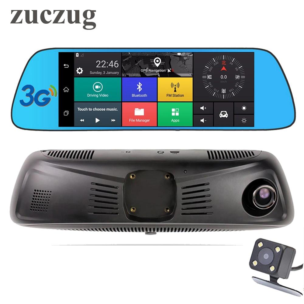 Zuczug 7 3g сенсорный ips Специальный Автомобильный видеорегистратор камера зеркало gps Bluetooth wifi Android 5,0 двойной объектив FHD 1080p видео регистратор в