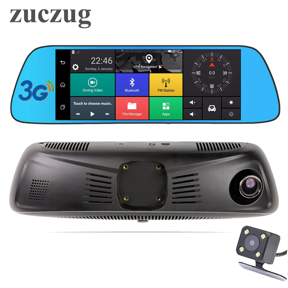zuczug 7 3G Touch IPS Special Car DVR Camera Mirror GPS Bluetooth WIFI Android 5.0 Dual Lens FHD 1080p Video Recorder Dash Cam