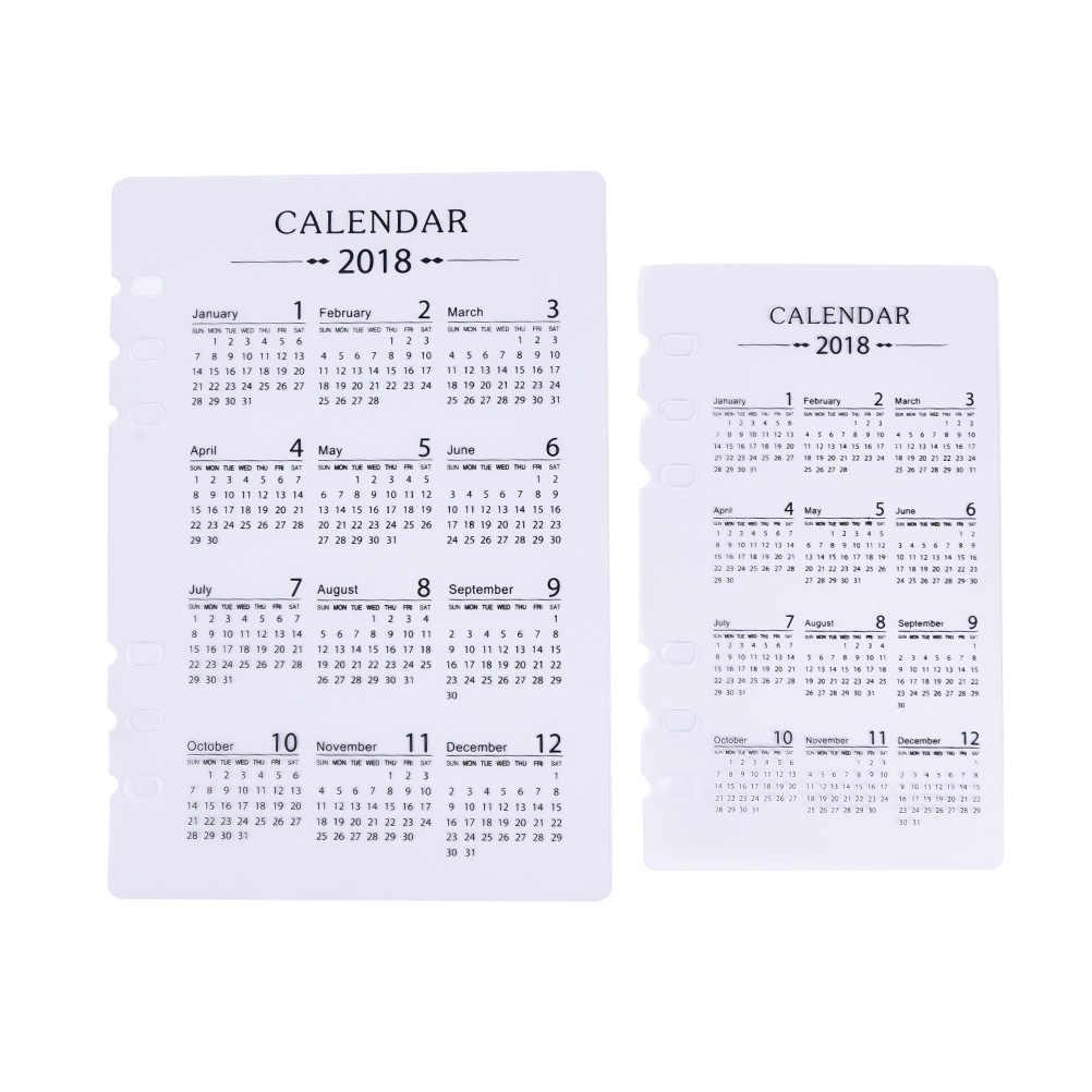 A5 A6 PP 2018 Calendar Kalendar Matt Frosted Plate Protecting Inner Paper Spacer Planner Filofax Organizer Divider Separator