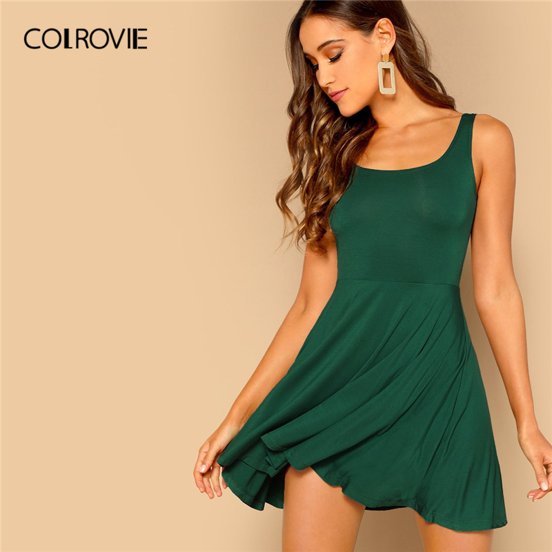 COLROVIE Green Solid Scoop Neck Fit And Flare Casual Tank Dress Women 2019 Summer Sleeveless Stretchy Sexy Lady Mini Sundresses