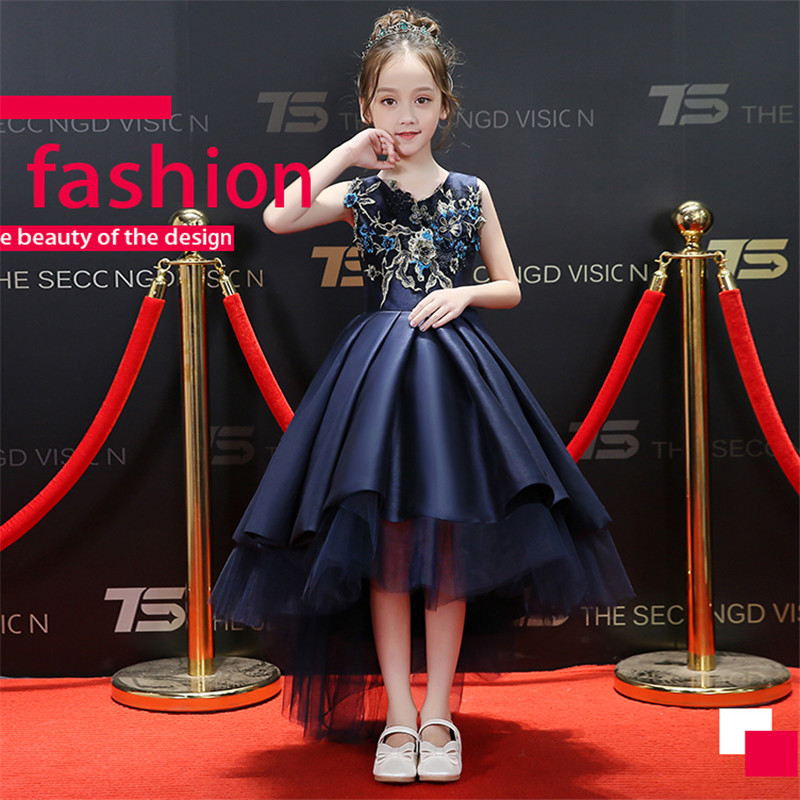 цена 2018New Luxury Children Girls Embroidery Flowers Birthday Evening Party Front Short Back Long Tail Dress Babies Kids Tutu Dress