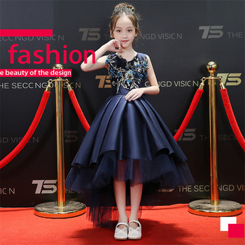 2018New Luxury Children Girls Embroidery Flowers Birthday Evening Party Front Short Back Long Tail Dress Babies Kids Tutu Dress