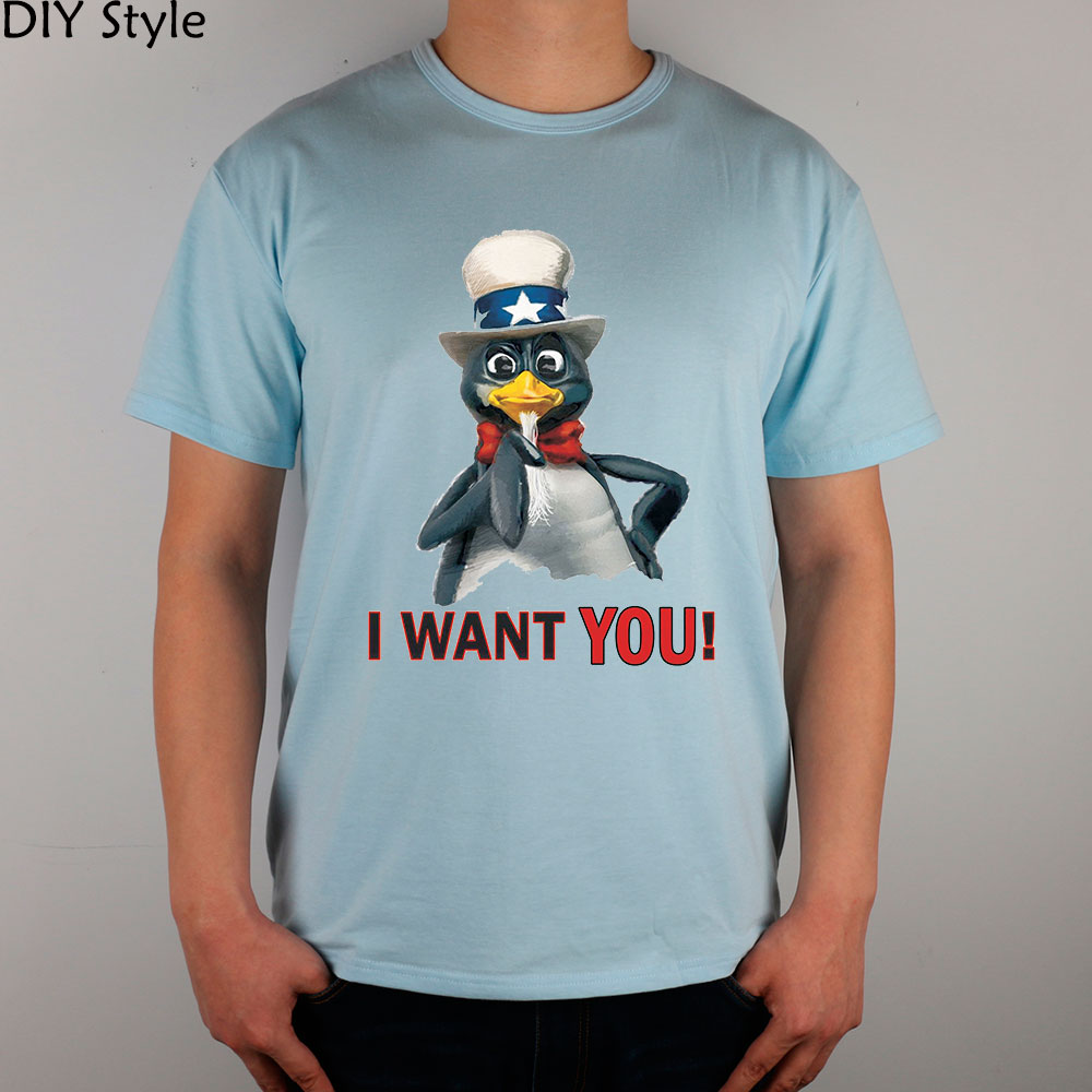 I WANT YOU Uncle Sam Penguin LINUX T-shirts Short Men new arrival Fashion Brand t shirt for men summer