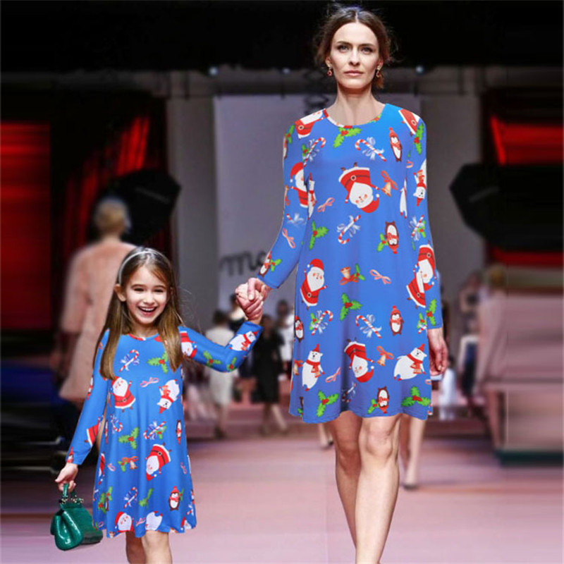 Autumn Winter Long Sleeve Matching Mother Daughter Dresses Pajamas Christmas Mommy And Me Clothes Dress Look Family Clothing