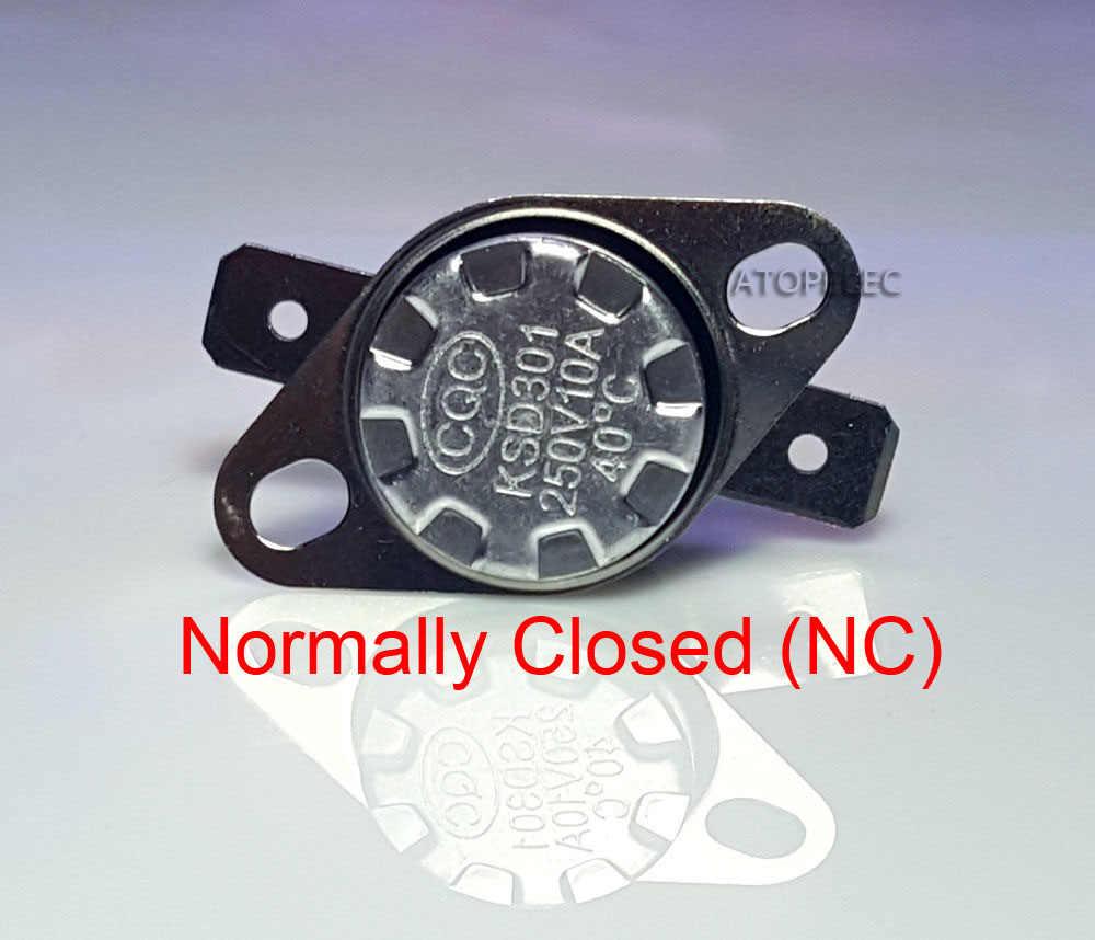 2 sztuk KSD301 250V 10A normalnie zamknięty NC termostat temperatury przełącznik kontroli termicznej Deg. C 85 90 95 100 105 110 120 130 140 180