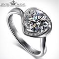 JewellWang 18K White Gold Engagement Rings for Women Moissanite Heart Special Diamond Side Stone 1.0CT Certified Carat Wedding