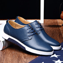 Merkmak luxury brand Shoes casual leather fashion black blue brown flat Shoes for men