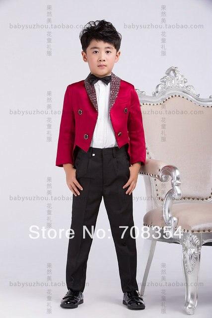 Личности элегантный мода красная роза мальчика свадебный костюм / мальчика такседо / мальчика 4-piece комплект костюм 11