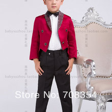 Suit 4-Piece-Set Rose Cool Tuxedo/boy's Elegant Red 11 Personality Fashion