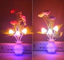 110V-220V US/EU Mushroom Rose Tulip Light Sensor Home Bedroom Decoration Colorful Nightlights Luminaria LED Night Lamp