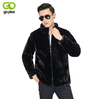 GOPLUS 2019 Spring Winter Black Fashion Mink Faux Fur Coat Men Fox Fur Stand Collar Full Sleeve Fur Coats Men Fur Jacket C4397