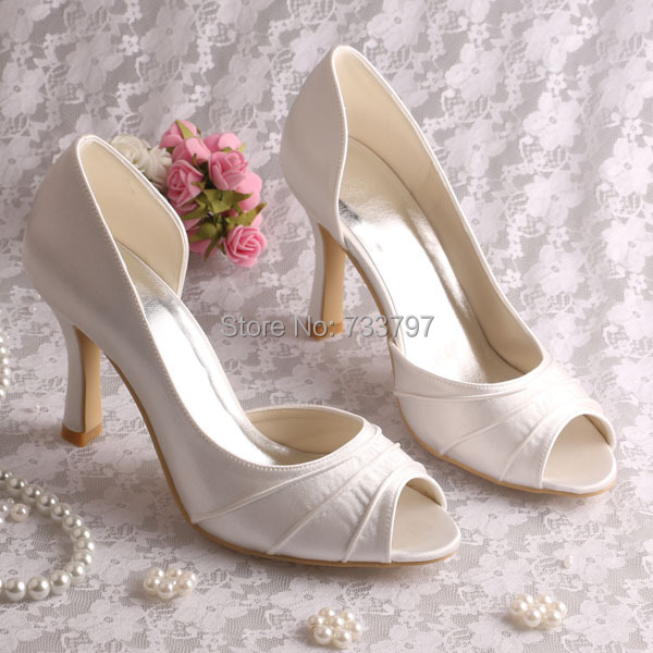 Custom Pink and Ivory Peep Toe High Heel Satin Banquet Wedding Shoes