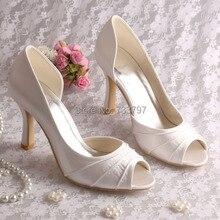 Пользовательские Розовый и Кот Peep Toe Высокий Каблук Атласные Банкетные Свадебные Туфли