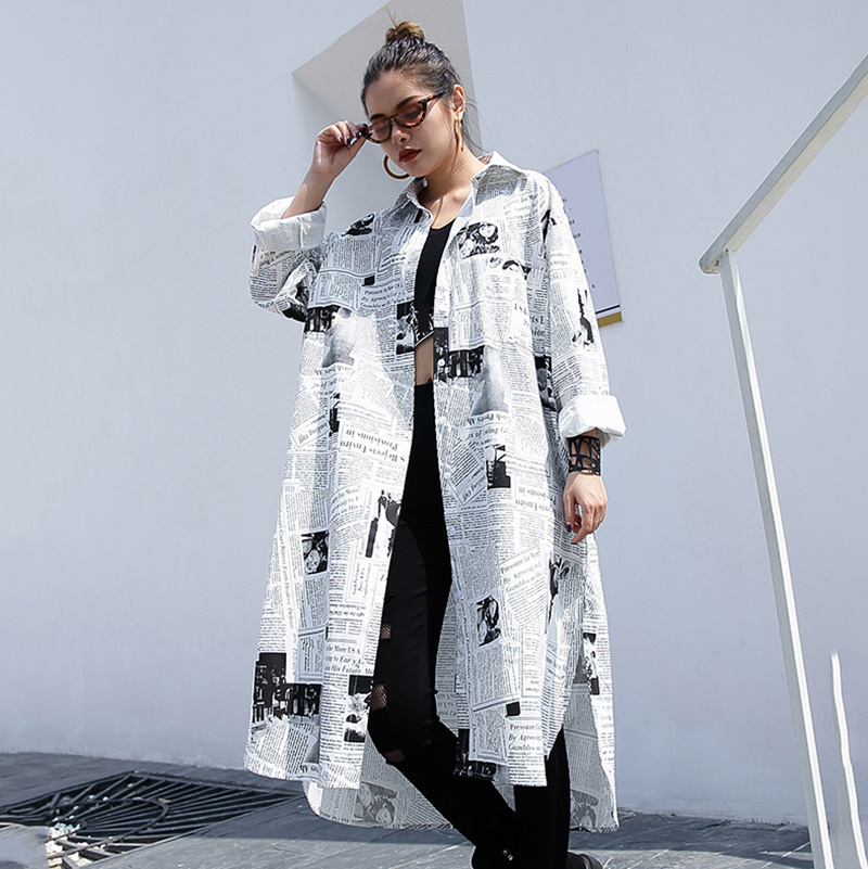 HTB1Vz0ObGSs3KVjSZPiq6AsiVXaG - [EAM] new Spring Autumn Lapel Long Sleeve White Printed Loose Irregular Big Size Long Shirt Women Blouse Fashion Tide JF008