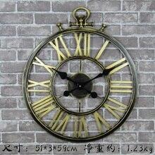 Large Wall Clock Saat Reloj Vintage European Mute clock duvar saati relogio de parede Creative Roman digital clocks 50cm