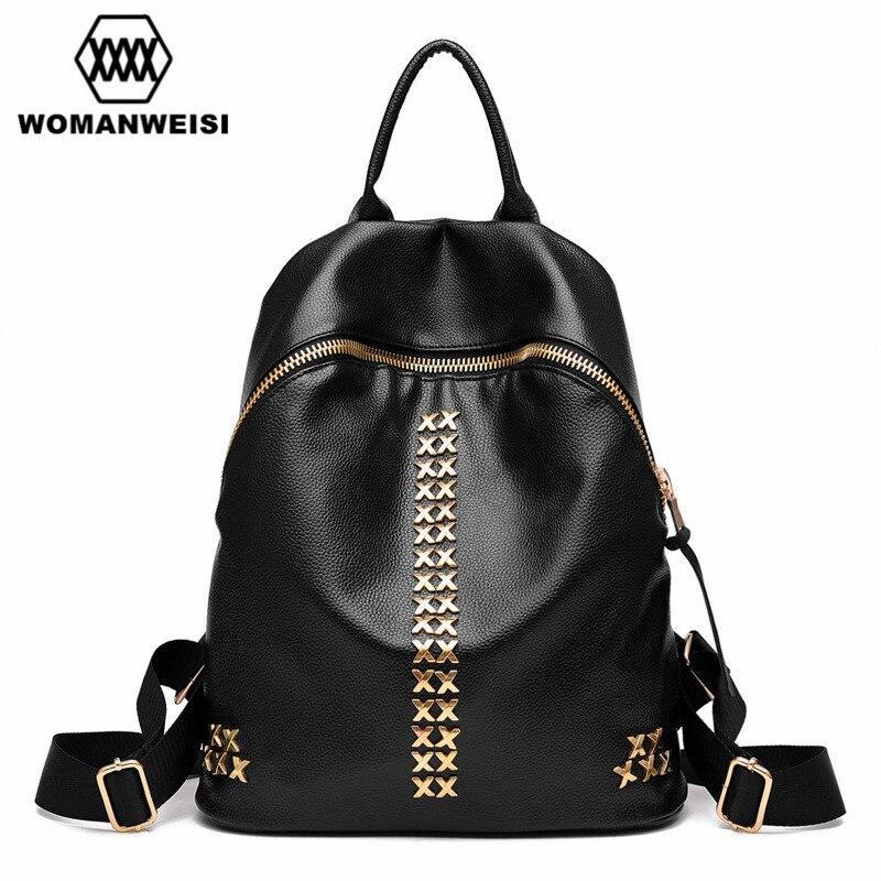 2017 Luxury Women Backpack Famous Brand Design Black Leather Backpacks For Teenage Girls Student School Bags Female Mochila