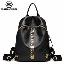 2017 Luxury Women Backpack Famous Brand Design Black Leather Backpacks For Teenage Girls Student School Bags Female Mochila